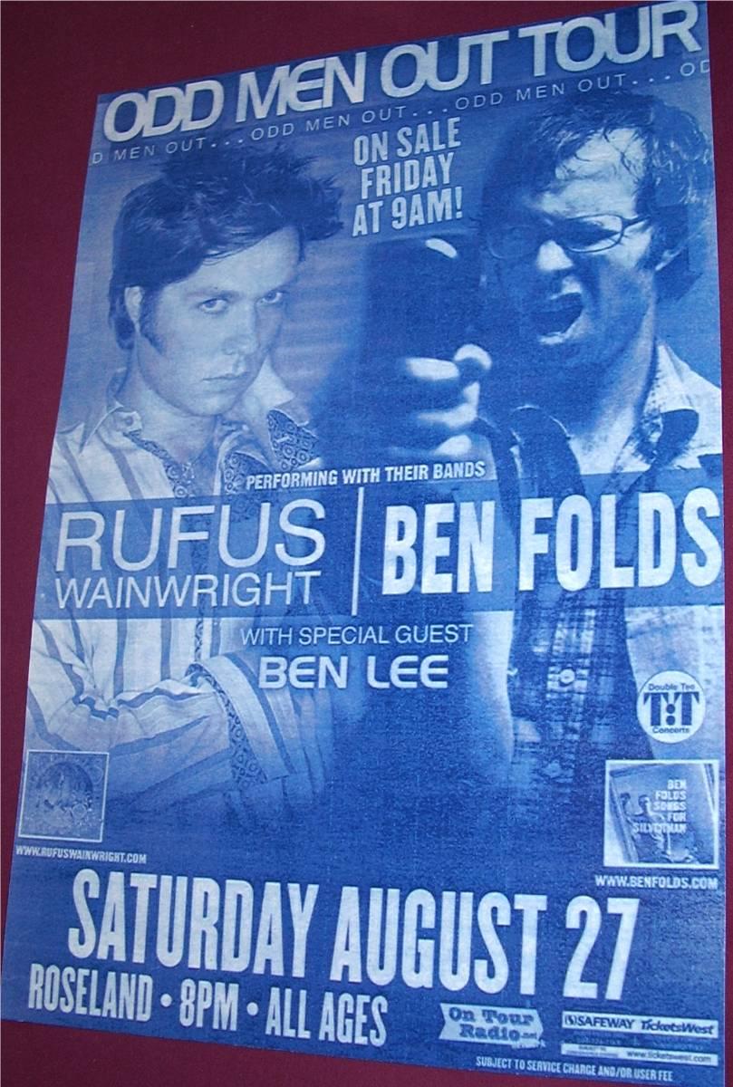Ben Folds Rufus Wainwright Concert Poster